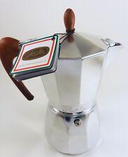 Stove-Top Moka Italian Espresso Maker by GAT~6cup~Wood Like Handle~Induction~NWT