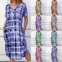 Women Summer Beach Long Maxi Dress Wave Stripe Evening Party Sundress Slip Skirt