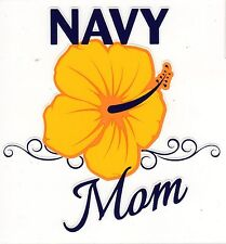 Navy Mom Hisbiscus Decal Sticker