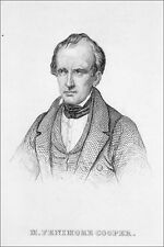 PORTRAIT of the American writer FENIMORE COOPER - Engraving from 19th century