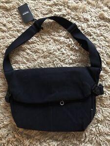 Cote & Ciel Laptop Messenger Bag Black Cross Shoulder Natural Eco Canvas NEW