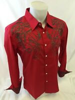 Mens HOUSE OF LORDS Western GOLD STITCH SNAP UP Shirt RED RODEO With Class 1175