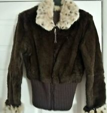 New!!! Brown/Leopard Rabbit Fur Reverseable  Bomber Style Jacket Size XS/S