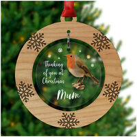 Remembrance Robin PERSONALISED Christmas Decoration Bauble In Memory Dad Mum