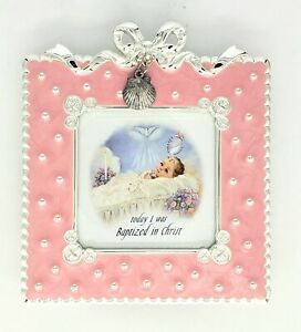 """Girl's Pink Shell Baptism Picture Frame 2.5"""" x 2.5"""" New Without Tags"""