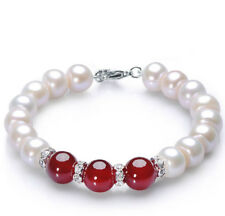 Women's 7-8mm Natural White FW Pearl & 10mm Red Jade Bracelet 7.5'' Y3371