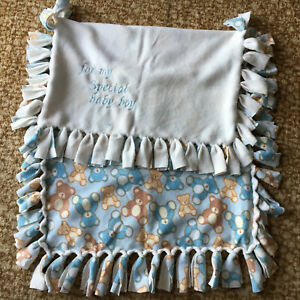 """TEDDY BEARS """"Special Baby Boy"""" Beautiful Embroidered Blanket Blue Fringed Rug"""