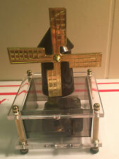"""SANKYO SMOKEY CLEAR LUCITE WIND MILL MUSIC BOX """"MOON RIVER"""" GOLD DETAILING #211"""