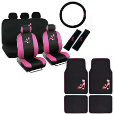 New Love Pink High Heels Hearts Car Front Back Full Seat Covers & Floor Mats
