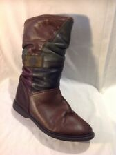 MANAS Brown Mid Calf Leather Boots Size 40
