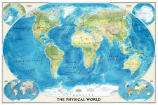 World Physical Map of the Ocean Floor Poster Print, 44x30 World Map