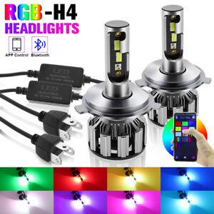 2X RGB H4 9003 LED Headlight Kit 50W 10000LM HB2 CSP Fog Lamp Bluetooth Control
