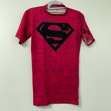 Under Armour Women's Run Pink Compression Top T Shirt Super Girl Superman Size S