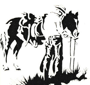 STENCILS CRAFTS TEMPLATES SCRAPBOOKING WESTERN COWBOY STENCIL - 1 A4 MYLAR
