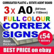 3x A0 FULL COLOUR CORREX OUTDOOR FESTIVAL SIGN MARKET BUILDERS SITE BOARD