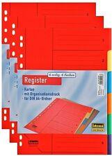 3 Kartonregister DIN A 4 6-teilig in 6 Farben Registereinlagen Register Ordner