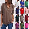 Womens Work Loose Tee Plain Blouse Long Sleeve Chiffon Zipper Ladies Shirt Tops