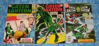 3 Vintage Green Lantern 1 with Green Arrow Comic Book Set Lot DC Fair Condition