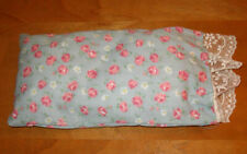 Vintage Doll Crib Floral PILLOW handmade Pink Blue Roses Calico Cotton Lace