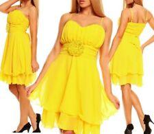 Miss Sexy Donna Chiffon Volant Abito Da Cocktail Sera Party Dress 34/36/38 GIALLO