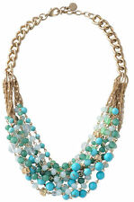 Maldives Necklace Gold Chain Multiple Blue Green Beads Statement Necklace