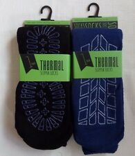 men's thermal cosy warm gripper slipper lounge socks, 2 pack, size 7-11