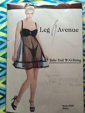 Brand New In Package Leg Avenue Black Baby doll W/G-string Medium