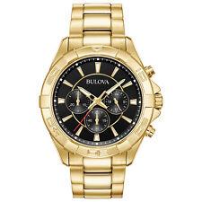 Bulova Men's Quartz Chronograph Black Multi Dial Gold Tone Watch 97A139