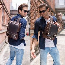 Vintage Men's Leather Backpack Shoulder Bag Crossbody Bag Tote Clutch Zip Casual