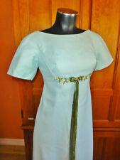 Vtg 70s Lorrie Deb Tiffany Blue ROMANTIC Wedding Boho Party Maxi DRESS Gown