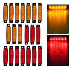 "10Amber & 10Red 3.8"" 6LED Side Marker Indicators Light Truck Trailer Clearance"
