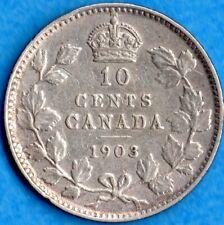 Canada 1903 10 Cents Ten Cent Silver Coin - F/VF
