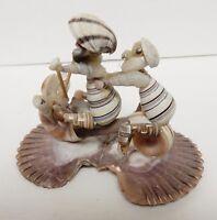 """Sea Shell Art Sculpture Biker Motorcycle Ocean Figures 5.5""""x4""""x3"""" VINTAGE"""
