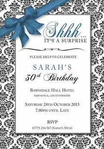 PERSONALISED BIRTHDAY PARTY INVITES Surprise Invitations Various Pack of 10
