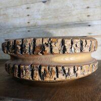 "Vintage 8"" Rustic Christmas Candy Nut Bowl Wood Bark"