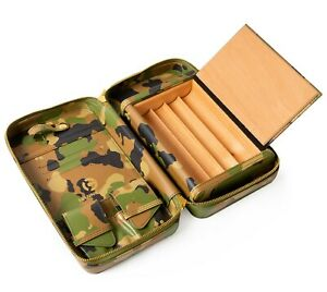 Leather Cigar Travel Case Camouflage Finish