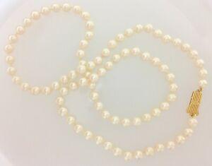 Mikimoto 18K Yellow Gold Akoya Pearl Necklace // 887-01079 Estate