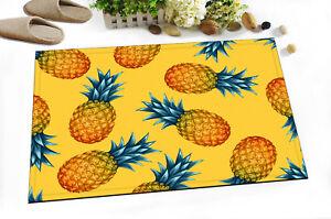 "Yellow Background Pineapple 24x16"" Kitchen Bathroom Non-Slip Bath Door Mat Rugs"