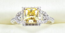 2.10 TCW  FANCY YELLOW  PRINCESS CUT ENGAGEMENT RING  14K SOLID WHITE GOLD