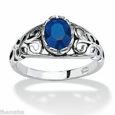 STERLING SILVER SAPPHIRE SEPTEMBER BIRTHSTONE SCROLL RING SIZE 5 6 7 8 9 10