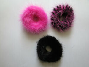 3pcs of real mink fur hair scrunchies ponytail holders hair band scrunchies(pbp)