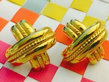 Well Made Vintage Earrings 80's 90's Shiny Gold tone X Shape w Rope Design Clip