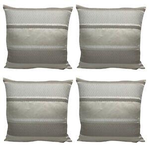 "X4 Filled Cushions - Beige / Cream / Grey Embossed Stripe 18x18"" Inch / 45x45cm"