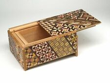 Traditional Japanese Hakone Yosegi Wooden Secret Puzzle Trick Box 4 Steps B