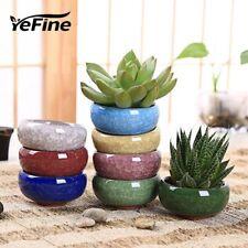 Bonsai Ice Crack Ceramic Flower Pots For Juicy Plants Small Bonsai Pot x 8pcs