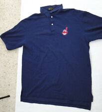Cleveland Indians GENUS Mens Polo Shirt Blue Size Large
