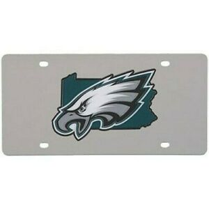 Philadelphia Eagles NFL State Shape Silver Laser Cut License Plate