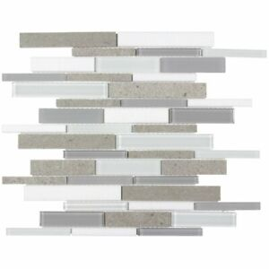 Linear White Cinderella Gray Glossy Thassos Marble Glass Mosaic Tile MTO0126