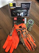 UA BOYS YOUTH FOOTBALL CHIN STRAP & GLOVES REALTREE UNDER ARMOUR NEW YOUTH LARGE