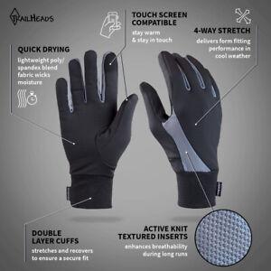 TrailHeads Touchscreen Running Gloves (Black/Gray) Men's Women's Unisex Walking